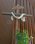 11163794 this easter cross is inside a church with a white cloth draped across it it has a rustic sign writt 121x150 The Subtle Suppression of the True Meaning of the cross of Jesus Christ